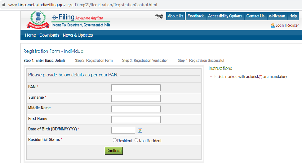 How to register yourself on the e-filling portal