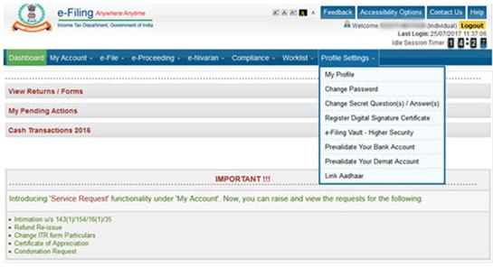 Link Aadhaar with PAN card via Income Tax portal (online)