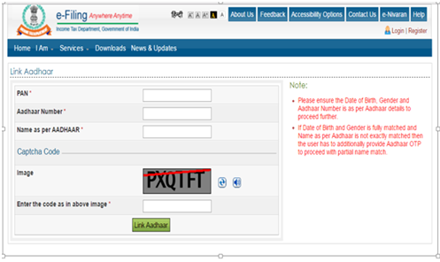Link via income tax portal