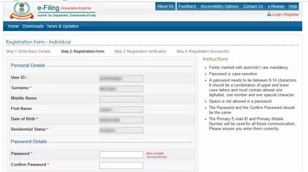 register on the e-filling portal