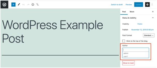 'author' option WordPress