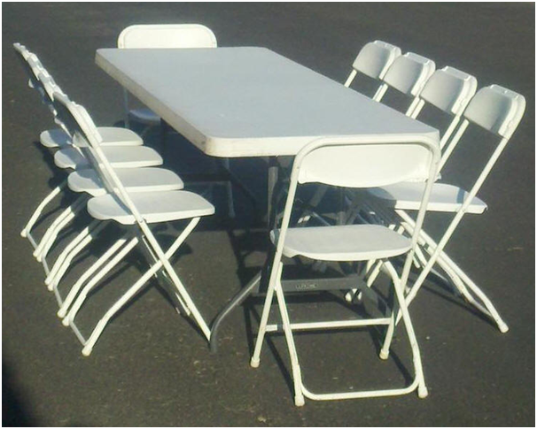 Folding chairs and a table