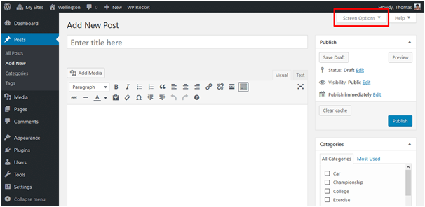 Screen Options to change the author of post in wordpress