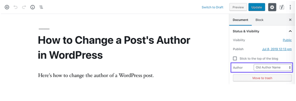 change the author of a single post in WordPress
